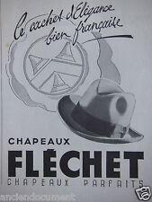 PUBLICITÉ 1942 CHAPEAUX FLÉCHET LE CACHET D'ÉLÉGANCE - ADVERTISING