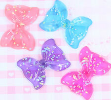 4 x X-LARGE Sparkle Star BOWS Cabochons Embellishments Deco Kawaii Craft - UK