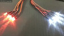 1/10 RC LED Light kit for radio control car truck plane 6 White 6 Red 5mm 6W6R