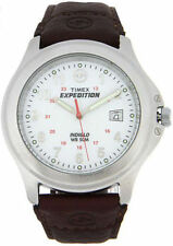 "Timex T44381, Men's ""Expedition"" Brown Leather Watch, Indiglo, Date, T443819J"