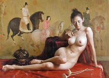 """PORTRAIT OIL PAINTING ON CANVAS,""""Classical sexy naked woman"""" 24x36inch"""
