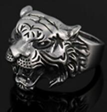 TIGER HEAD W STAR STAINLESS STEEL RING size 12 silver metal S-523 biker unisex