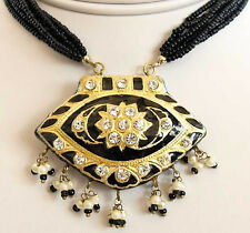 India, Lakh, Pendant Necklace. Black & Gold. With Earrings