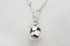 925 Sterling Silver Plated 3D Apple Charm Pendant Necklace Ladies Girls Gift