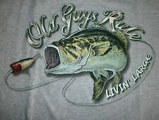 "OLD GUYS RULE "" LIVING LARGE "" FISHING LURE BASS BOAT LAKE POCKET S/S SIZE XL"