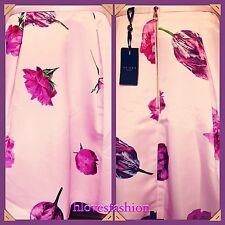 ✨🌸TED BAKER Oil Painting Pink Satin Tulip Floral Skirt NEW+TAGS 14 Ted 4 RARE🌸