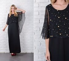 Vintage 70s Black Boho Dress Cape Sleeve Gold Polka Dot Hippie Large L