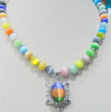 New 8mm multicolor Sri Lanka Moonstone Gems Crystal Tortoise Pendant Necklace