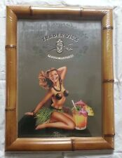 Trader Vic's Vics Bamboo Frame Mirror Hula Girl Coconut Bikini Brand New in Box!