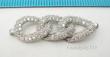 1x Rhodium plated STERLING SILVER CZ CRYSTAL OVAL LINK PENDANT CONNECTOR #2565