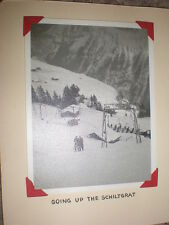 Old photograph view going up the Schiltgrat Switzerland skiing c1950s