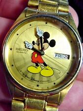VINTAGE SEIKO MICKEY MOUSE THE WALT DISNEY COMP Day Date CALENDER MEN WATCH