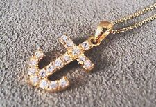 NWT Anchor Boat Ship Pendant Rhinestones Gold Vermeil Sterling Silver Necklace