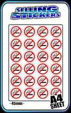 NO SMOKING SIGN STICKER DECAL SET A4 PAGE 45mm NON SMOKERS BNIP CHEAP FREE POST