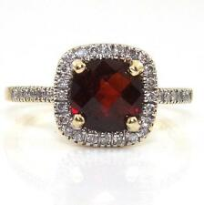 14K Yellow Gold Natural Diamond Red Garnet Cushion Cut Halo Ring Size 7.5