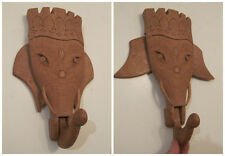 vintage hand carved movable mobile wood wall hook elephant hanger rack india