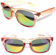 Men's Women's Wayfarer Sunglasses Crystal Orange Clear Frame Gold Mirror 80's