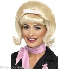 Womens Ladies Flicked Beehive Bob Wig Blonde 50s Rock n Roll Fancy Dress Grease