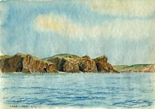 LAND'S END COASTLINE CORNWALL Painting CHARLES VERNON METHLEY 1935 SEASCAPE