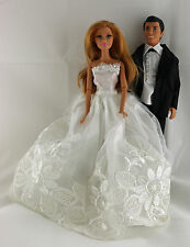 White Wedding Set White Gown with detail and Black Tux For Ken