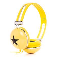 Kids Childs Boys Girls Funky DJ Star Portable Travel Headphones iPad iPod Yellow