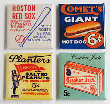 Boston Red Sox FRIDGE MAGNET Set (1.5 x 1.5 inches each) tickets hot dog sign