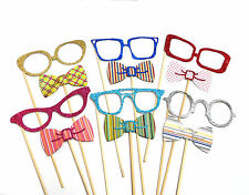 Photo Booth Props Weddings Parties Glitter Glasses & Bowties  x 12PC