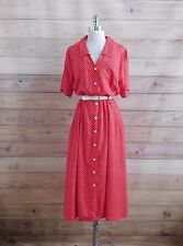L6-32 Plus Size ERIKA Red White Polka Dot Button Down Belted Casual Dress 2X 3X