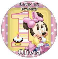Minnie Mouse 1st Birthday Personalised Wafer Paper Topper For Large Cake 7.5""