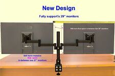 "2 Screens 13-29"" Dual Twin LCD LED Monitor Desk Stand Mount Arm Clamp Adjustable"