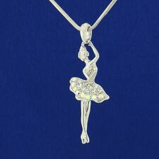 W Swarovski Crystal Ballerina Ballet Dancer Chain AB Color Pendant Necklace