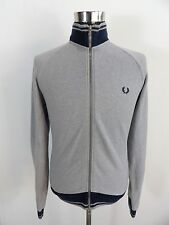 Men's FRED PERRY Full Zip Jumper, Size L large, Grey, Cotton #BL1159