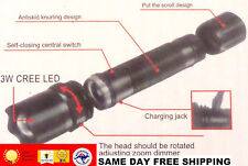 CREE LED SUPER 3 MODE TACTICAL  FLASHLIGHT TORCH  USB CHARGER  ZOOMABLE DIMMABLE
