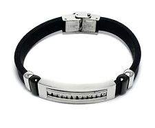 Mens White Stainless Steel Rubber Band Bracelet CZ Cubic Zirconia Bangle Link