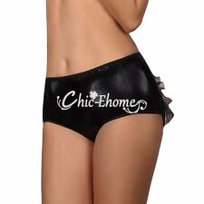 Sexy Faux Leather Wet Look Crotchless Panties Briefs Women's Lingerie Underwear