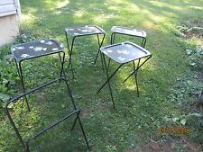 Lot of 4 1950's Toleware  TV trays with stands and storage stand