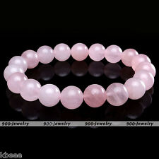 Natural Rose Quartz Stone Crystal Gemstone Bead Stretchy Bracelet Bangle Prayer