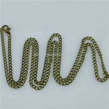 5PCS 24 Inch  Bronze Plated Chain Flat Curb Link 3mm Chain Necklace Making