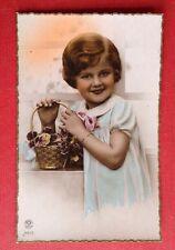CPSM. Carte Rose. Petite Fille. Panier Pensées. Janvier 1945.