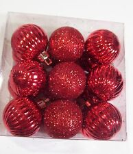 18 RED GLITTER MINI 1.5 IN RIBBED VALENTINES DAY CHRISTMAS ORNAMENT DECORATION