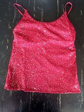 EUC The Limited Burgundy Tank with Sequins under Mesh Size XL