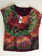 NEW Desigual Women's Multicolor flowers T-shirt Top Size M