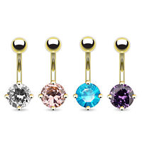 Gold Plated Belly Bar With Round Solitaire CZ Crystal Navel Piercing UK SELLER