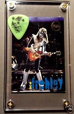 LOOK - KISS Ace Frehley powder neon green tour guitar pick / card display #J3
