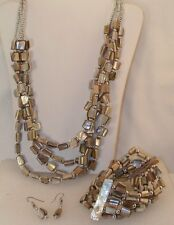 Stunning High Fashion Tan Mother of Pearl 4 std Necklace Bracelet & Earrings set