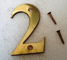 """2  – 3"""" Brass NUMBERS - Times ROMAN - HOUSE DOOR Sign - Number"""