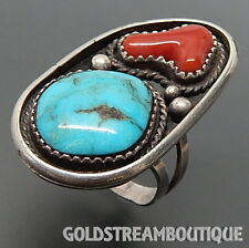 JIMMY YAZZIE NAVAJO 925 SILVER RED CORAL TURQUOISE ELONGATED SHADOWBOX RING, 9