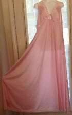 Vintage silky nylon lace VanRaalte full sweeping long nightgown L