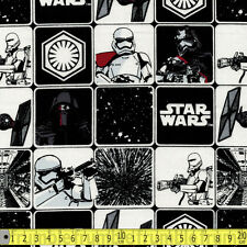 Camelot Fabric Star Wars Force Awakens Grid In Black PER METRE Immortals Classic
