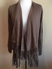 NWT Women's Brown Long Sleeve Chelsea & Theodore Fringe Cardigan Sweater Small